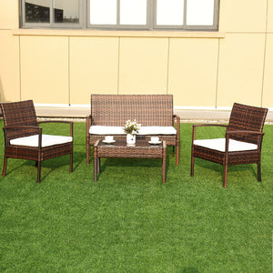 4 Pc Rattan Patio Furniture Set Garden Lawn Sofa Wicker Cushioned Seat - EK CHIC HOME
