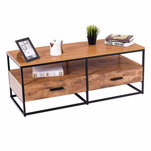 "47"" 2-Tier Cocktail Coffee Table Metal Desk Shelf Storage - EK CHIC HOME"