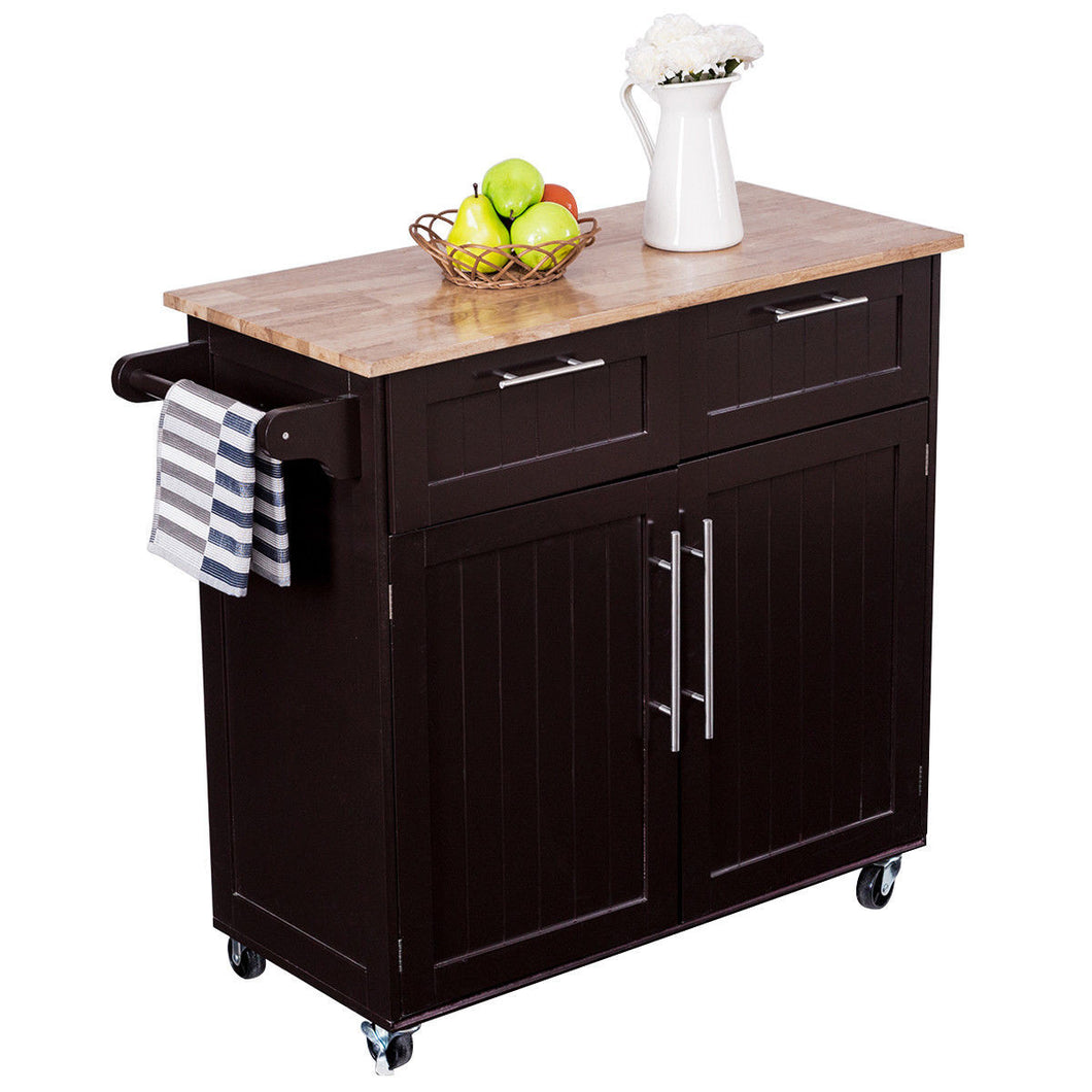 Rolling Kitchen Cart Island Heavy Duty Storage Trolley Cabinet Utility Modern - EK CHIC HOME