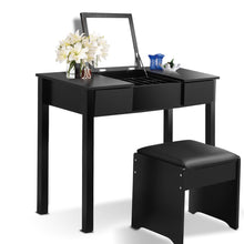 Load image into Gallery viewer, Black Vanity Dressing Table Set Mirrored W/Stool &Storage Box - EK CHIC HOME