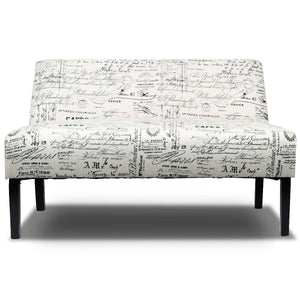 Armless Loveseat Sofa Fabric Settee Bench Bed Chair Wooden Leg - EK CHIC HOME