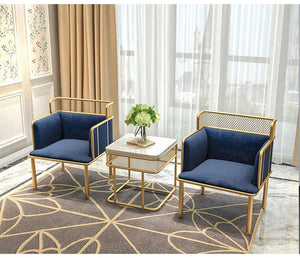 SET of 2 Nordic Simplified Golden Iron Living Room Leisure Chairs - EK CHIC HOME