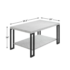 Accent Coffee Table Modern Living Room Furniture Metal Frame w/Lower Shelf - EK CHIC HOME