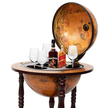 Load image into Gallery viewer, 36'' Wood Globe Wine Bar Stand 16th Century Italian Rack Liquor Bottle Shelf - EK CHIC HOME