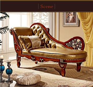 French Design Leather Sofa Chaise - EK CHIC HOME