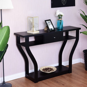 Black Accent Console Table Modern Sofa Entryway Hallway Hall Furniture W/Drawer - EK CHIC HOME