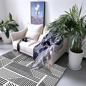 Short Plush Monochrome Living Room Area Rug - EK CHIC HOME