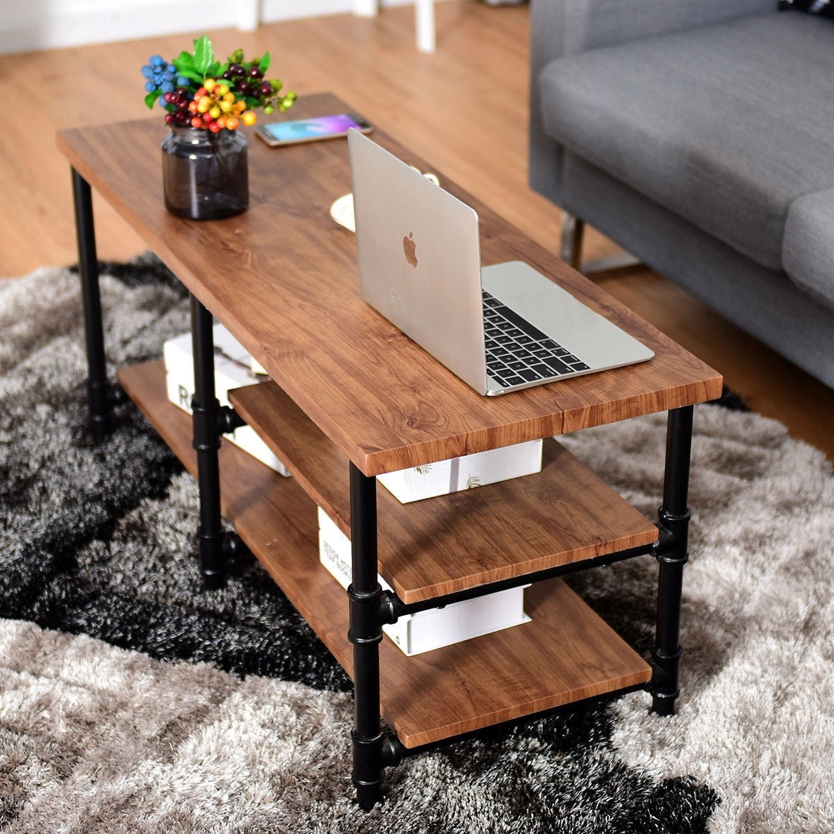 - 3-Tier Metal Frame Coffee Table With Storage Shelves – EK CHIC HOME