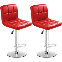 Load image into Gallery viewer, Set Of 2 Bar Stools PU Leather Adjustable Swivel Pub Chairs Red - EK CHIC HOME