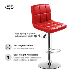 Set Of 2 Bar Stools PU Leather Adjustable Swivel Pub Chairs Red - EK CHIC HOME