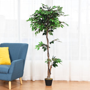 5.5 ft Artificial Ficus Silk Tree with Wood Trunks - EK CHIC HOME