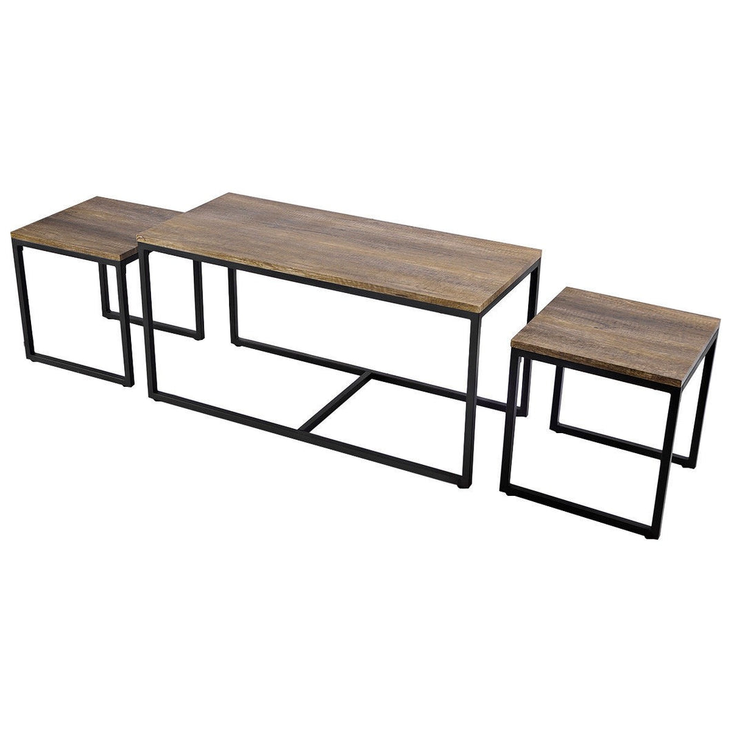3 Pieces Wood Coffee End Table Set - EK CHIC HOME