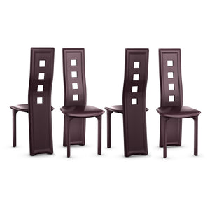 Set of 4 Steel Frame High Back Armless Dining Chairs - EK CHIC HOME
