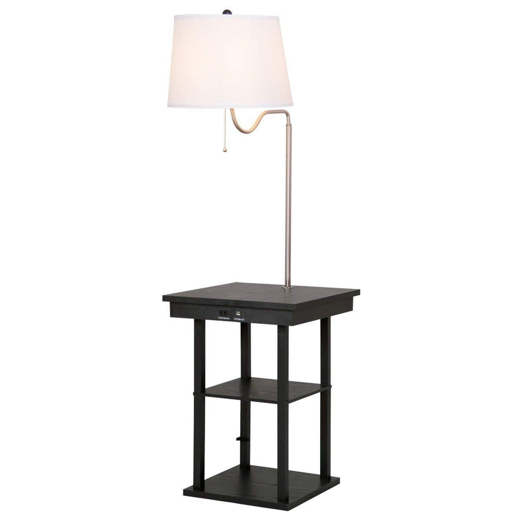 Table Swing Arm Floor Lamp with Shade 2 USB Ports - EK CHIC HOME