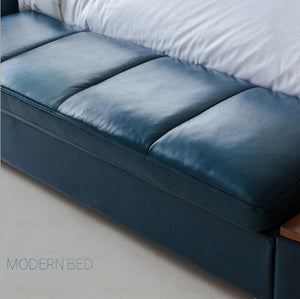 Genuine Leather Modern Soft Beds Home Bedroom Furniture - EK CHIC HOME
