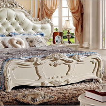 Load image into Gallery viewer, French Hand Carved Leather And Solid Wood Bed - EK CHIC HOME