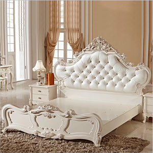 French Hand Carved Leather And Solid Wood Bed - EK CHIC HOME