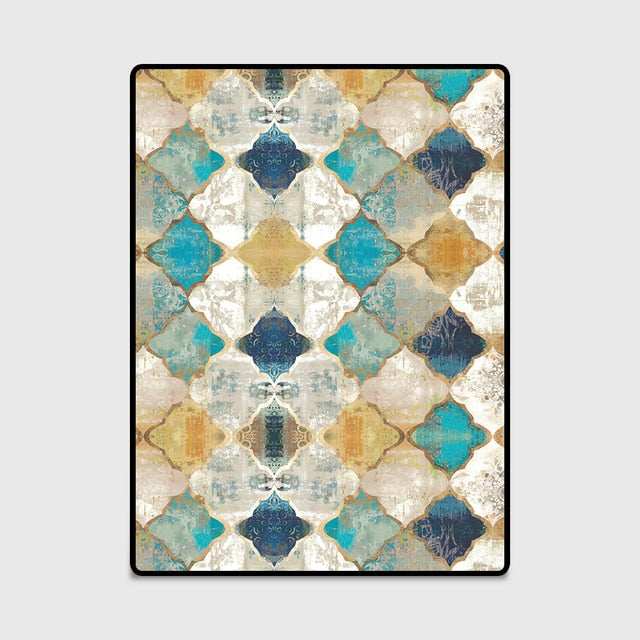 Short Plush Printed Geometric Living Room Area Rug - EK CHIC HOME