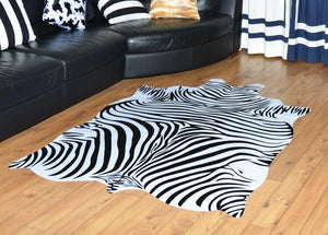 Natural Shape Large Size Zebra/Cow Leather Rugs - EK CHIC HOME