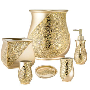 Champagne Bathroom 6 Piece Accessory Collection - EK CHIC HOME