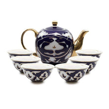Load image into Gallery viewer, Royalty Porcelain 7-pc Mini Tea Cup Set for 6, Vintage Cobalt Blue Russian - EK CHIC HOME