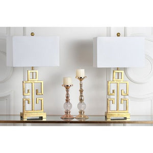 Antique Gold with Off-White Shade, Set of 2 - EK CHIC HOME
