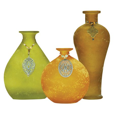 Lux Adorned Vases - Set of 3 - EK CHIC HOME