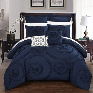 Chic Home 11-Piece Ruffled Embroidery Queen Bed In a Bag Comforter - EK CHIC HOME