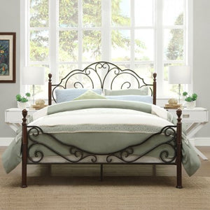 Graceful Scrolls Poster Metal Bed, Multiple Sizes - EK CHIC HOME
