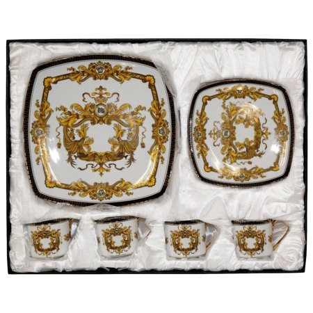 Royalty Porcelain 16-pc Luxury Dinner Set, 24K Gold - EK CHIC HOME