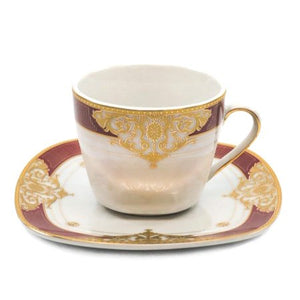"Royalty Porcelain 49-pc ""Floral Red"" Banquet Dinnerware Set for 8, 24K Gold - EK CHIC HOME"