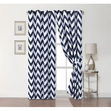 2 Pack: 100% Blackout Curtains W/ Tiebacks - Navy, 84 in. Long - EK CHIC HOME
