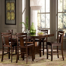 Load image into Gallery viewer, 7-Piece Counter Height Expandable Storage Dining Table Set - Dark Brown - EK CHIC HOME