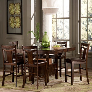 7-Piece Counter Height Expandable Storage Dining Table Set - Dark Brown - EK CHIC HOME