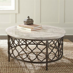 "36"" Round Stone Top Coffee Table in Yellow - EK CHIC HOME"