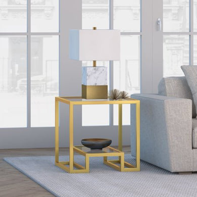 Athena Geometric Glam Side Table in Gold - EK CHIC HOME