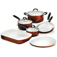 Load image into Gallery viewer, 10-Piece Cookware/Bakeware Set, Metallic Copper - EK CHIC HOME