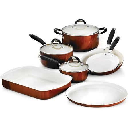 10-Piece Cookware/Bakeware Set, Metallic Copper - EK CHIC HOME