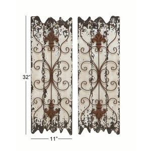 Rustic 32 Inch Wood and Metal Wall Decor - Set of 2 - EK CHIC HOME