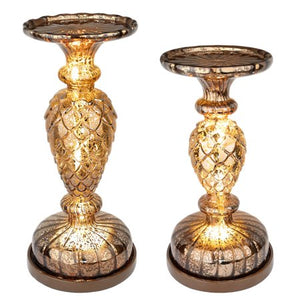 2 Pillar Candle Holder, Handmade Mercury Glass Pedestals - EK CHIC HOME