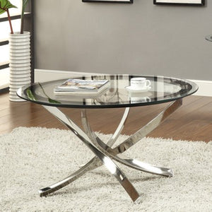 Glass Top Round Coffee Table - EK CHIC HOME