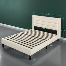 Load image into Gallery viewer, Upholstered Horizontal Detailed Platform Bed - EK CHIC HOME