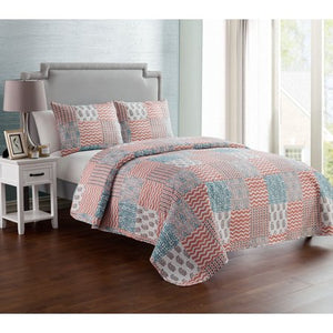 Peach 3 Piece Reversible Bedding Quilt Set, Shams Included - EK CHIC HOME