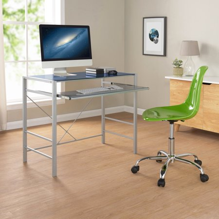 Versatile Modern Glass-Top Desk, Multiple Colors - EK CHIC HOME