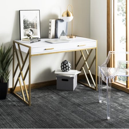 CHIC Elaine 2 Drawer Glam Desk, White/Gold - EK CHIC HOME