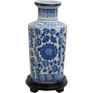 "12"" Floral Blue & White Porcelain Vase - EK CHIC HOME"