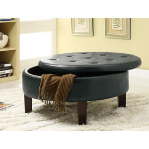 Round Storage Ottoman, Dark Brown Leatherette - EK CHIC HOME