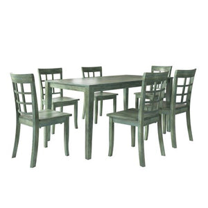 Vintage Dining Set with 6 Window Back Chairs - EK CHIC HOME