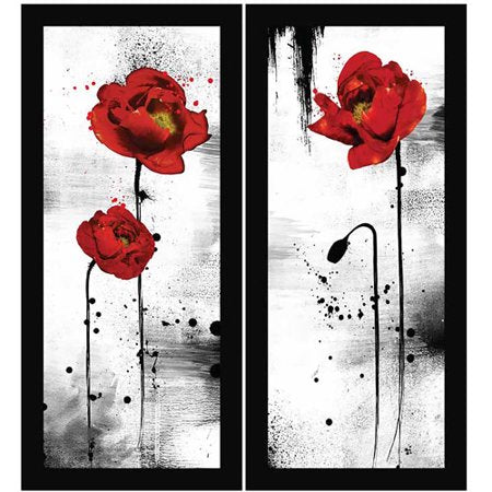 Black and Red Wall Art, Set of 2 - EK CHIC HOME