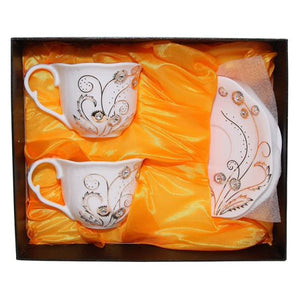 Royalty Porcelain 2-pc Swarovski Collection Tea / Coffee 8-Oz Cup Set - EK CHIC HOME